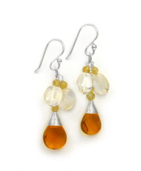 "Sterling Silver Gemstone and Crystals ""Venessa"" Drop Earrings, Citrine"