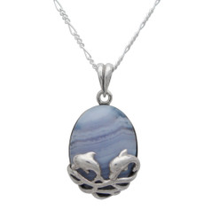 Sterling Silver Playful Jumping Two Dolphins Blue Lace Agate Pendant Necklace