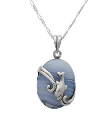 Sterling Silver Diving Dolphin Blue Lace Agate Pendant Necklace