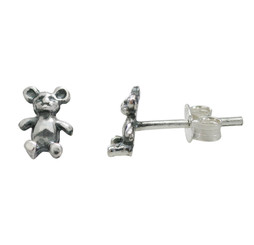Sterling Silver Bear Stud Post Earrings