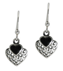 Sterling Silver Heart Stone Filigree Charm Drop Earrings, Onyx