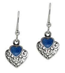 Sterling Silver Heart Stone Filigree Charm Drop Earrings, Denim Lapis