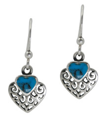 Sterling Silver Heart Stone Filigree Charm Drop Earrings, Turquoise