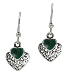 Sterling Silver Heart Stone Filigree Charm Drop Earrings, Malachite