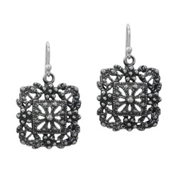Sterling Silver Flower Rose Window Antique Filigree Square Charm Drop Earrings