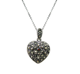 Heart Charm Locket Marcasite and Crystal Sterling Silver Pendant Necklace, 18 Inch