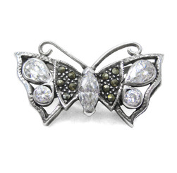 Sparkling Butterfly Marcasite Sterling Silver Brooch Pin, Clear