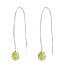 Sterling Silver Teardrop Crystal 3.5 Inch Ear Thread, Yellow