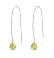 Sterling Silver Teardrop Crystal 3.5 Inch Ear Thread, Yellow