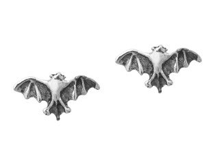 Sterling Silver Bat Open Wing Stud Post Earrings