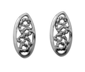 Sterling Silver Small Oval Filigree Swirls Stud Post Earrings