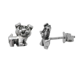 Sterling Silver Happy Puppy Dog Stud Post Earrings