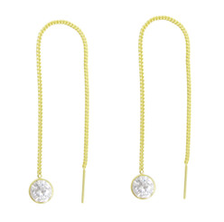 Gold Plated Sterling Silver Round Crystal Ear Thread 4.25 Inch Earrings, Clear