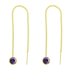 Gold Plated Sterling Silver Round Crystal Ear Thread 4.25 Inch Earrings, Purple