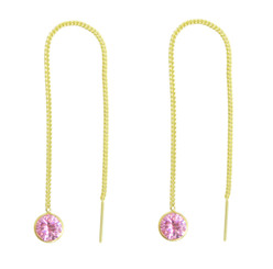 Gold Plated Sterling Silver Round Crystal Ear Thread 4.25 Inch Earrings, Pink