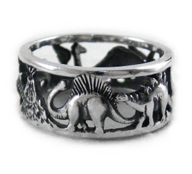 Sterling Silver Dinosaurs Band Ring Size 8.5
