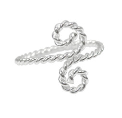 Sterling Silver Twisted S-Swirl Thumb Ring Finger Ring Adjustable
