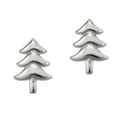 Sterling Silver Christmas Tree Post Stud Earrings