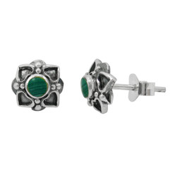Sterling Silver Round Stone Four Corners Flower Post Stud Earrings, Malachite