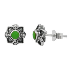 Sterling Silver Round Stone Four Corners Flower Post Stud Earrings, Gaspeite