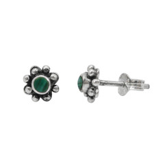 Sterling Silver Round Stone Flower Beaded Petals Post Stud Earrings, Malachite