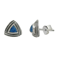 Sterling Silver Triangle Stone Modern Frame Post Stud Earrings, Denim Lapis