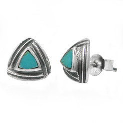 Sterling Silver Triangle Stone Modern Frame Post Stud Earrings, Turquoise