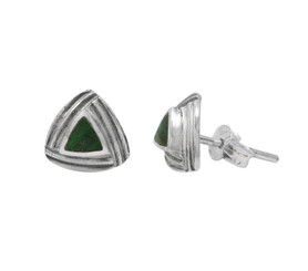 Sterling Silver Triangle Stone Modern Frame Post Stud Earrings, Malachite