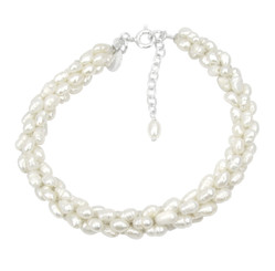 Sterling Silver Cultured Pearl Woven Beaded Adjustable Bracelet 7.25 - 8.25 Inch, White