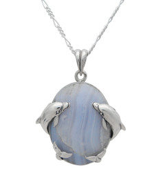 Sterling Silver Two Dolphins on the Sides Blue Lace Agate Pendant Necklace