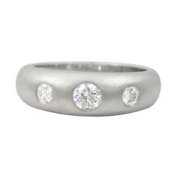 Sterling Silver Three CZ's Domed Tapered Band Ring, Matte Finish