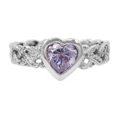 Sterling Silver Crystal Heart Braided Band Ring, Lavender