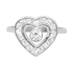 Sterling Silver Open Heart CZ's Ring, Size 8.5