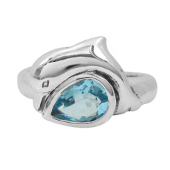 Sterling Silver Dolphin Teardrop Crystal Rings, Aqua