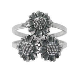 Sterling Silver Three Sunflowers Ring