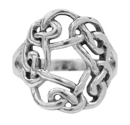 Sterling Silver Celtic Knot Round Open Center Ring