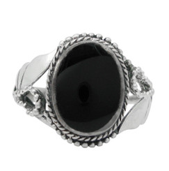 Sterling Silver Onyx Oval Stone Organic Leaf Ring