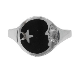 Sterling Silver Moon Face and Star Enameled Ring