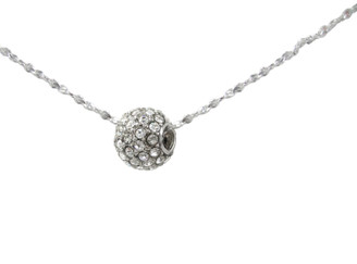 Crystal Pave Ball Slider Pendant Necklace