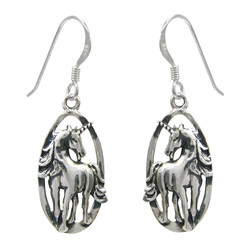 Sterling Silver Unicorn Oval Charm Drop Earrings