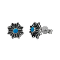 Sterling Silver Round Resin with Flower Frame Stud Post Earrings, Blue