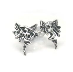 Sterling Silver Magical Winged Fairy Stud Post Earrings