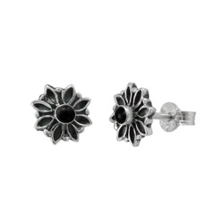 Sterling Silver Round Resin with Flower Frame Stud Post Earrings, Black