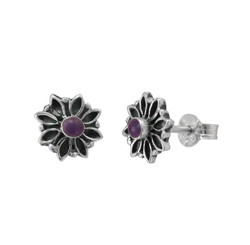 Sterling Silver Round Resin with Flower Frame Stud Post Earrings, Purple