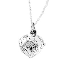 Sterling Silver Heart Engraved Locket Necklace