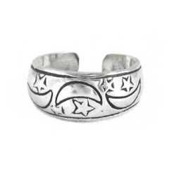 Sterling Silver Moon and Star Band Adjustable Toe Ring