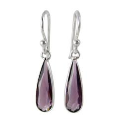 Sparkling Elegant Purple Crystal Drop Sterling Silver Earrings