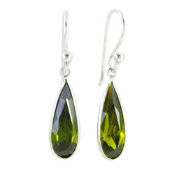 Sparkling Elegant Olive Green Crystal Drop Sterling Silver Earrings