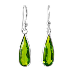 Sparkling Elegant Spring Green Crystal Drop Sterling Silver Earrings