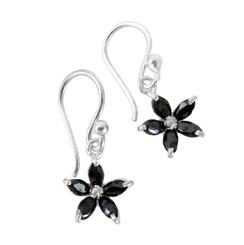 Sterling Silver Sparkling Crystal Wild Flower Earrings, Black